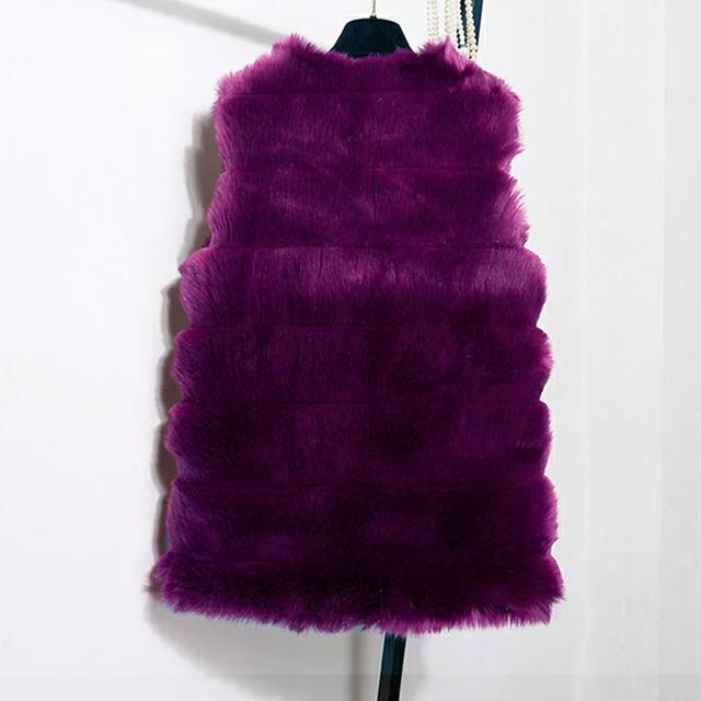 Autumn Winter Faux Fur Coat Women  Thick Warm Fur Elegant Sleeveless Long Vest Woman Casual Slim Luxury Thick Warm Fur Jacket