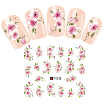 LNRRABC Sale Sweet Trendy Flower Shape Water Transfer Decals Tip Decoration DIY Creative Nail Stickers image