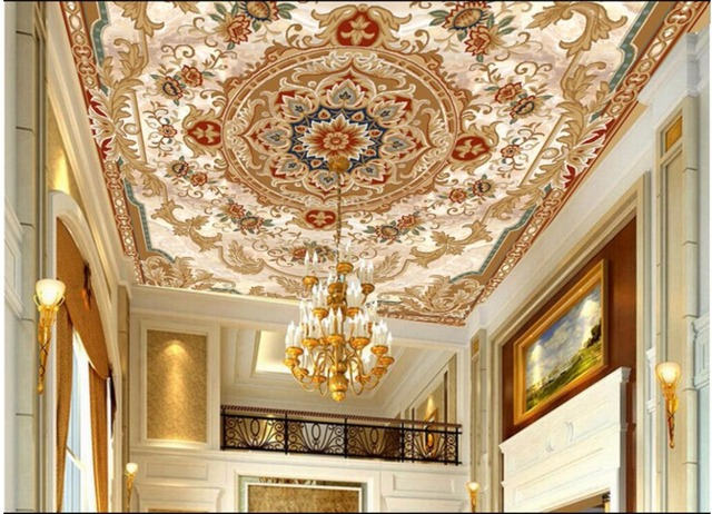 WDBH Custom 3d Ceiling Murals Wallpaper European Floral Texture Home Decor Painting Wall For Living Room