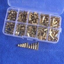 цена на 300Pcs/M3 PCB Threaded Female Brass Hex Standoff Spacer Board Assortment Box kit set