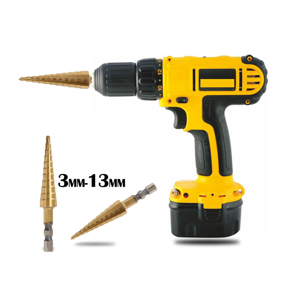 Practical 3-13MM Hand Drill Shank Unique Titanium Coated 11Step Drill 1/4HSS Hex Shank Tool For Wood Carbon Steel unique by step