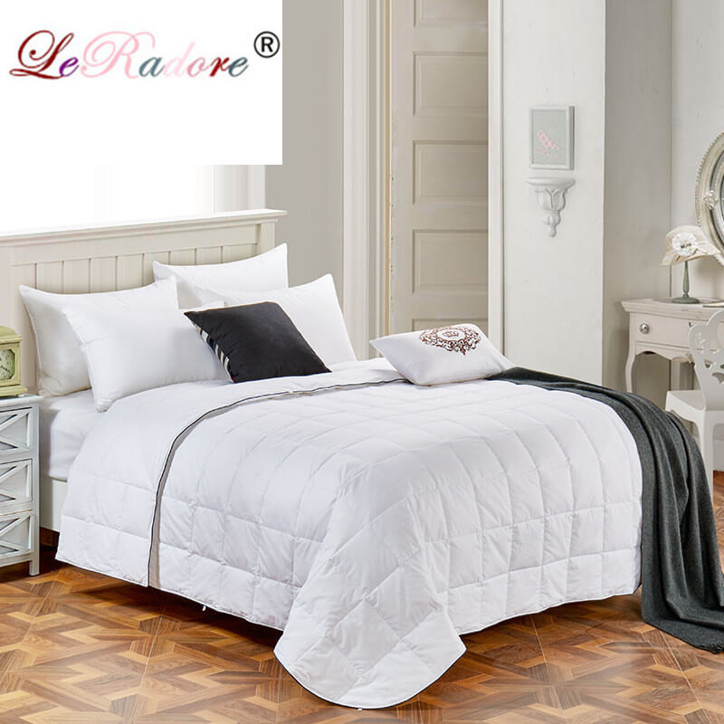 LeRadore Summer Goose Down Comforter Shell Quilted Plain Quilt Blanket 100 Cotton Home Textiles King Queen
