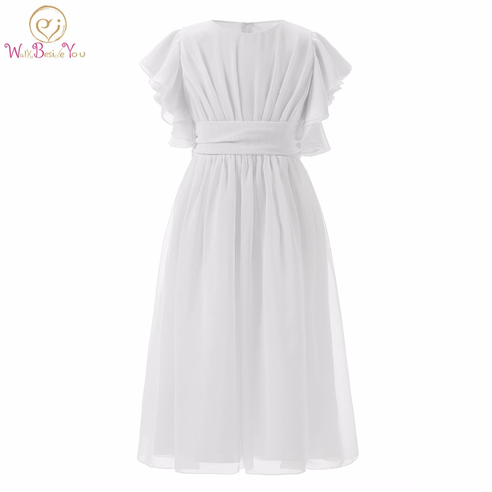 White Flower Girl Dresses Short Sleeves Chiffon With Sash Girls