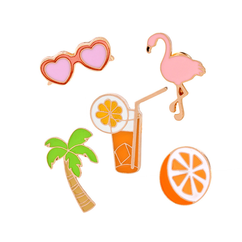 Hot fashion beach style orange Flamingos coco tree sunglasses Brooch Button Pins Denim Jacket Pin Badge T-shirt Jewelry Gifts