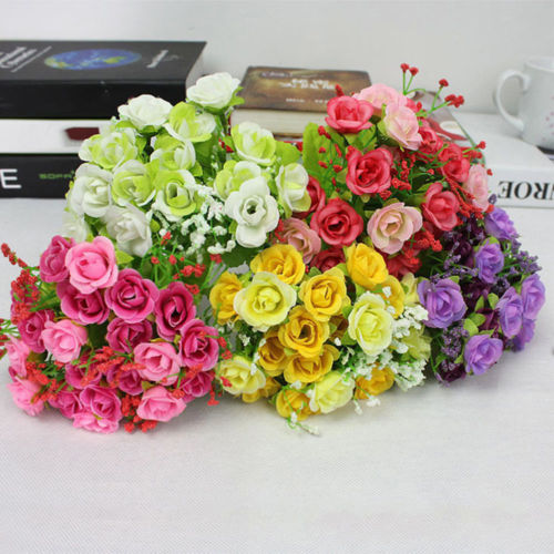 21Pcs Artificial Rose Flowers Silk Flower Home Party Wedding Decoration Bouquet Pink Rose Red Purple