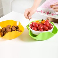 The Double Bowls Household Fruit Bowl Modern Fashion Creative Candy Basket Color Plastic Dry Fruit Tray