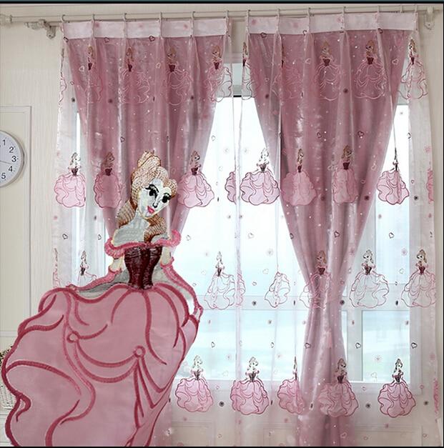 nouvelle arrivee princesse fille rideaux pour salon bande dessinee rose rideaux pour chambre home decor aveugles cortina tulle panne