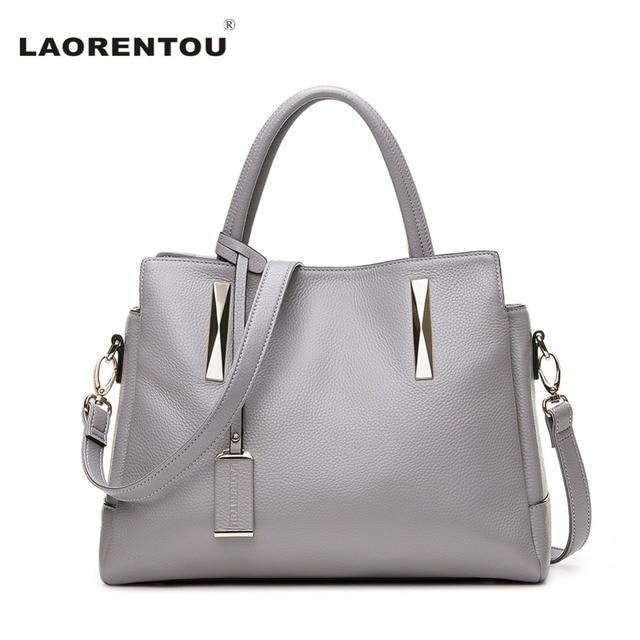 LAORENTOU Cow Leather Handbag For Women Luxury Fashion Shoulder Lady's Bag Made Of Genuine Leather Designer Brand Tote Bag N5