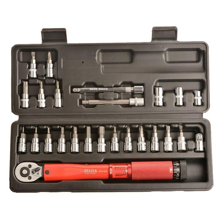 MXITA 1/4 pulgadas 1-25NM clic llave de Torque ajustable kit de herramientas de reparación de bicicleta conjunto de herramientas de reparación de bicicletas