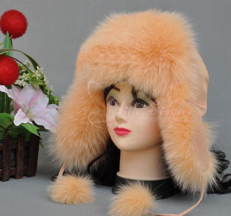Hot Sale High Quality Winter Women's Mink Fur Hat Fox Fur Ear Cap A 110