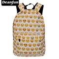Deanfun 2017 Emoji Школьная Сумка 3D Отпечатано Повседневная Женщины Рюкзак для Путешествий Рюкзак