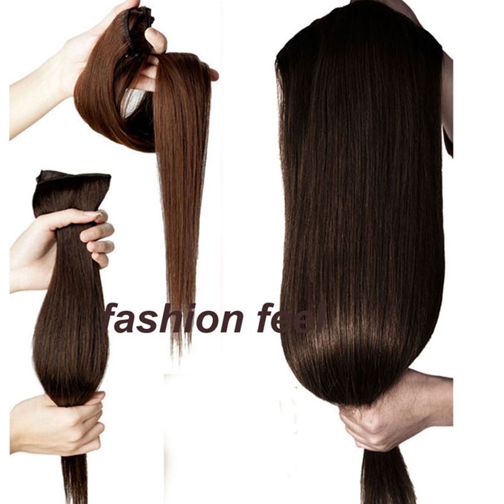 24 Ash Blonde 58CM 145g Women Clip in Hair Extensions Half Full head  Straight hair Extentions One Piece Heat Resistant Fiber-in Synthetic Clip-in  One Piece ... 6405ade1dd
