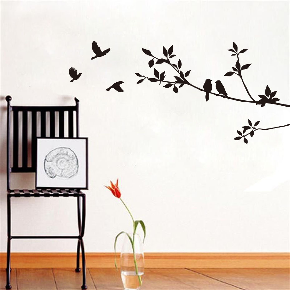 Bedroom wall art trees - Diy Birds On Tree Branches Vinyl Wall Sticker Waterproof Removable Home Decoration Bedroom Decor Wall Art
