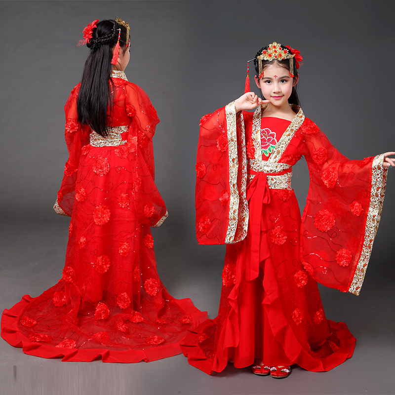 где купить 2018 winter chinese traditional hanfu dress girls clid kids kid ancient chinese hanfu dress costume woman tang clothing дешево