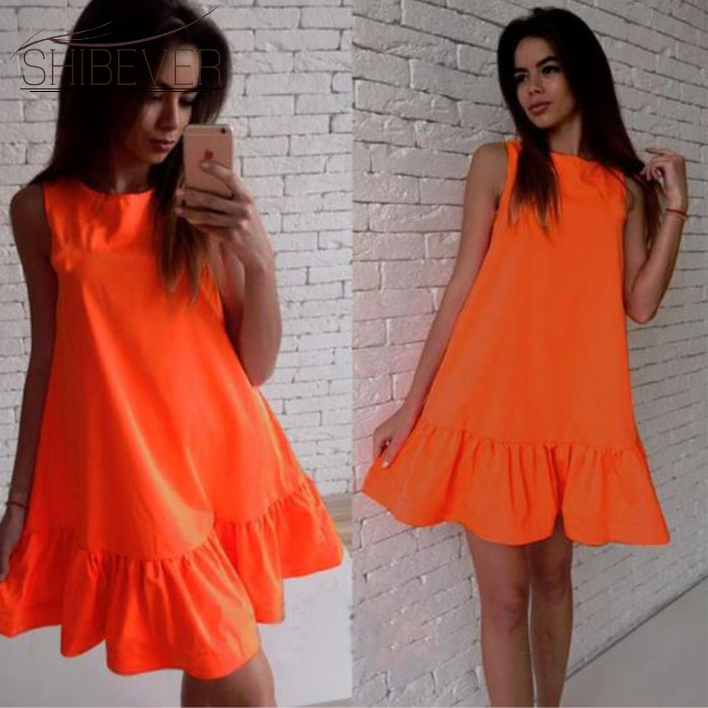 SHIBEVER Mode Casual Women Sommar Beach Dress Ärmlös Dam Sexig Klänning Mini Elegant Bohemian Girl Party Dresses 2019 LD57