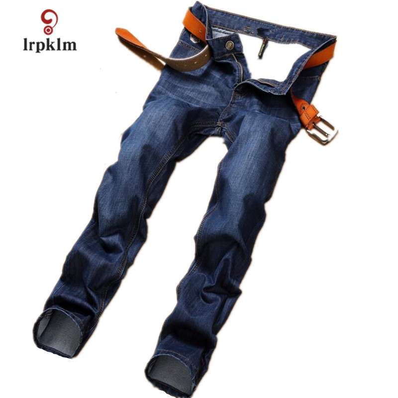 Brand Men Jeans Thin Blue And Black European And American Style Straight Jeans Quality Fabric Inelastic Small Strai MK583