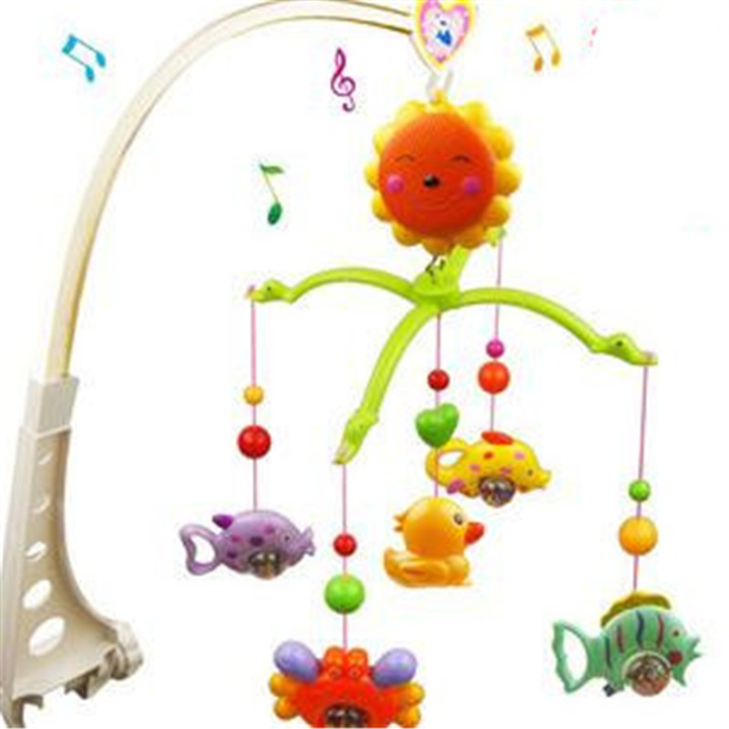 1pc/set Baby Education Baby Toys for 0-12 Months Bed Hanging Toy Musical Crib Toys Baby Bell Ring Rattle Mobile 37*6*27.5cm shiloh 60 songs musical mobile baby crib rotating music box baby toys new multifunctional baby rattle toy baby mobile bed bell