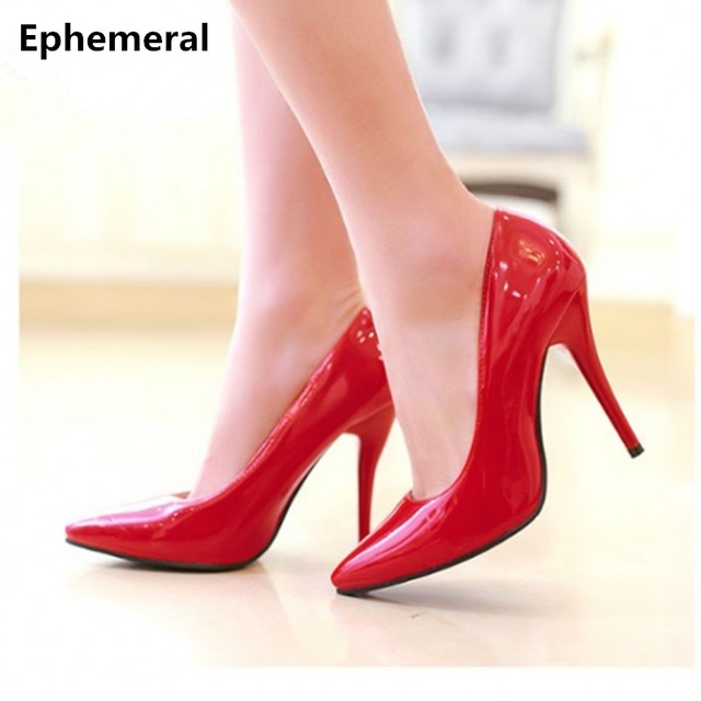 13a4eeed1995 Women s Cheap Plain big size(4-12) Elegant Single high heels pointy toe  Office shoes patent leather Lady Pumps Yellow OL Kovell