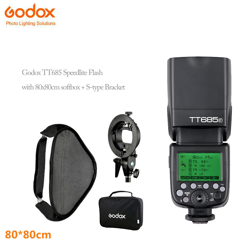 Godox Thinklite tt685s TTL Speedlites Camera Flash+80x80cm Flash godox SoftBox Kit with S-Type Bracket Bowen Mount Holder вспышка godox thinklite tt600