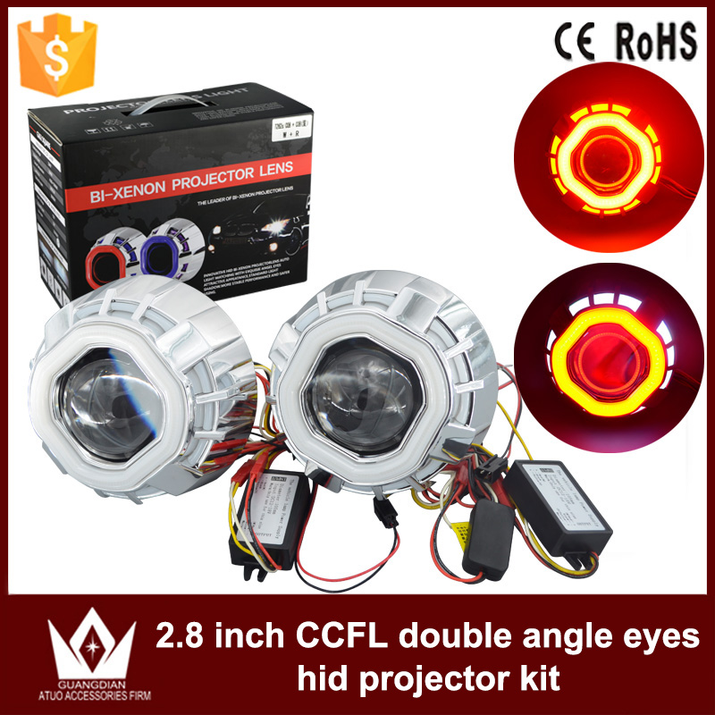 GuangDian Car LED Light 2.8'' Inch Square Double CCFL Angel Eyes Halo Ring Lens Auto Light Headlight HID Bi-xenon Kit For Toyota for honda odyssey 4th g rb3 rb4 chassis 2008 present excellent ultrabright headlight illumination ccfl angel eyes kit halo ring