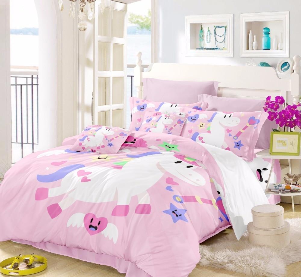Bed Children Pink Bedding Set For Girls Bedding Set Unicorn Disney Bed Linen Bed Set Beautiful Bedclothes 3pcs Duvet Cover F