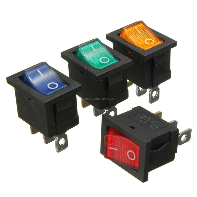 KCD1 Red Button On-Off 3Pin DPST Boat Car Rocker Switch 6A/10A 250V/125VAC 5pcs black push button mini switch 6a 10a 250v kcd1 101 2pin snap in on off rocker switch 21 15mm