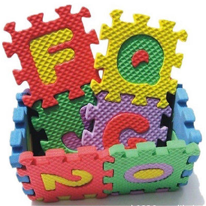 36 db / készlet habbal kirakós gyerek gyerek oktatási játék ábécé A-Z betűk szám szőnyeg baba csúszó szőnyeg gyerekeknek 17.8 * 13.5 * 1.7cm