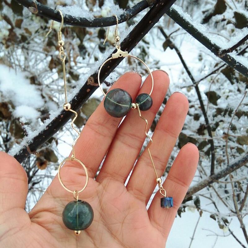Asymmetric Original Green Bubble Dangle Long Earrings For Women 2020 Vintage Handmade Glass Ball Drop Earrings Jewelry Earrings