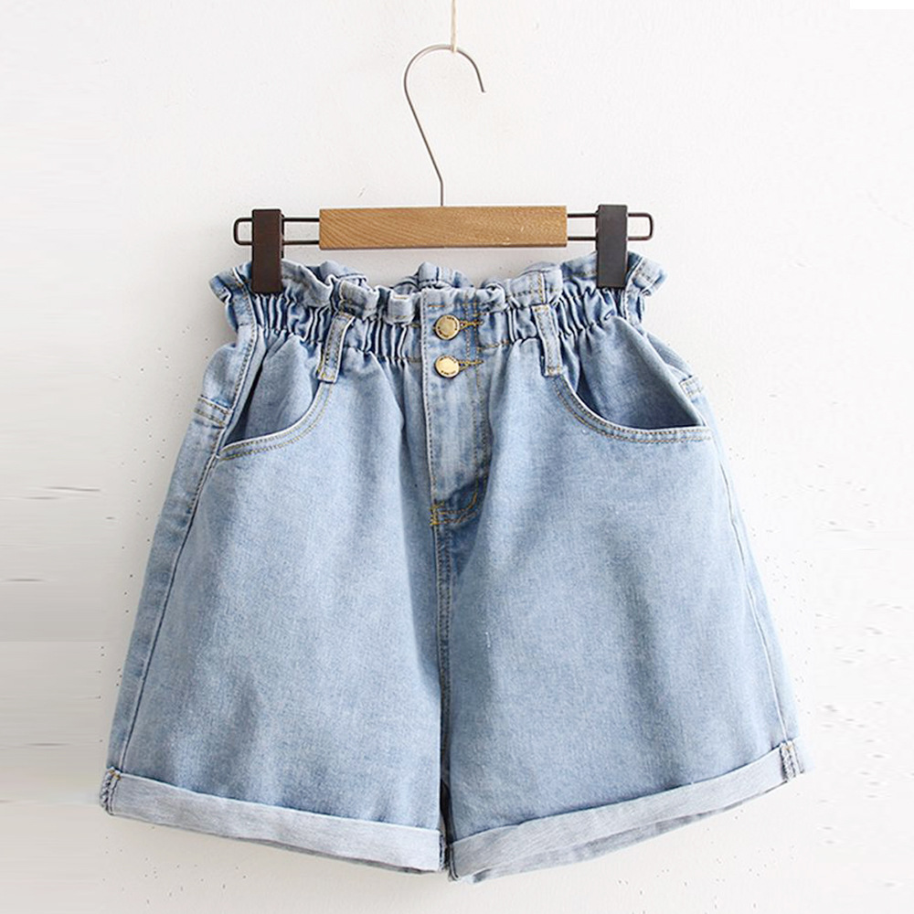 2019 Summer High Waist Denim Shorts Women Casual Loose Ladies Fashion Roll Up Hem Elastic Waist Pocket Blue White Female Jeans