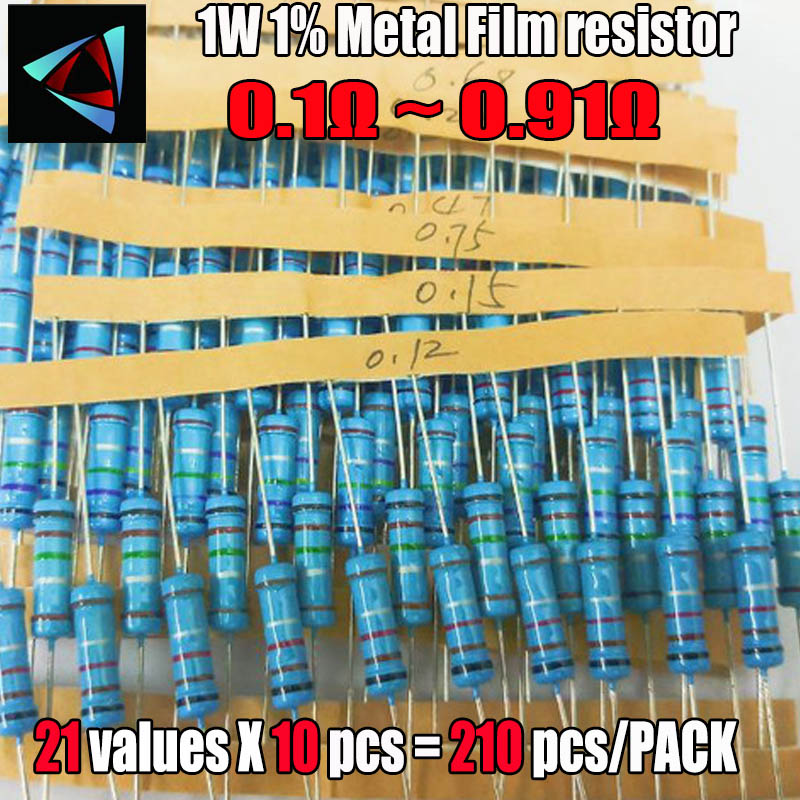 210pcs/lot 21 Values 0.1R - 0.91R 1W 1% Metal Film Resistors Assorted Kit Set