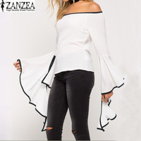 S-5XL ZANZEA Women Off Shoulder Strapless Slash Neck Loose Stripe Shirt Flared Bell Sleeve Blouse Tops Blusas Plus