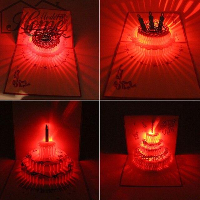 3D Laser Cut Pop Up Grußkarte Happy Birthday Musik kuchen Led ...