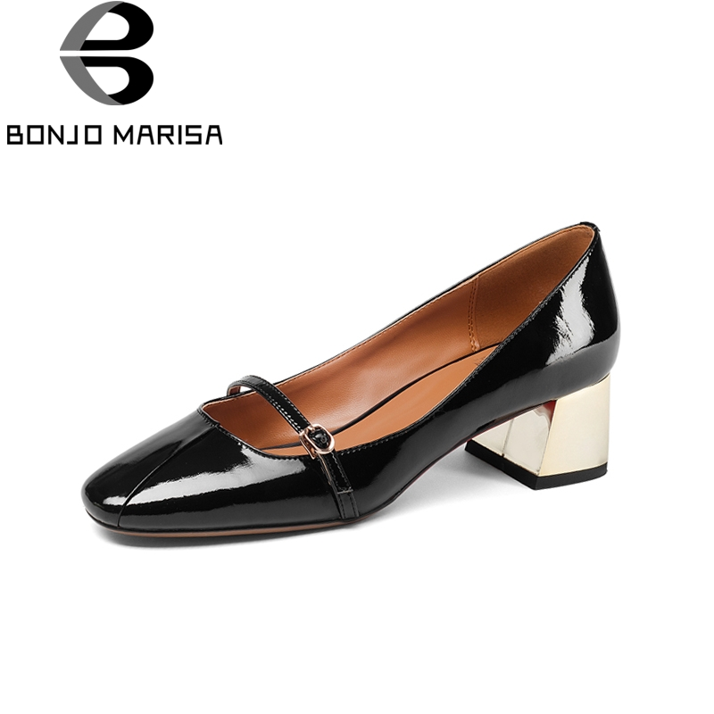 BONJOMARISA New women's Genuine Leather Square Med Heels slip-on Solid Shoes Woman Fashion Spring Pumps Big Size 33-43 bonjomarisa 2018 spring autumn new genuine leather pumps elegant concise decoration shoes woman shallow slip on shoes
