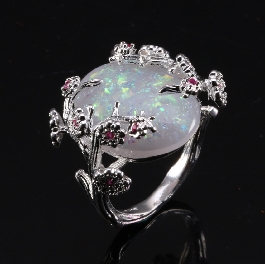 Chinese Style Silver Plum Tree And Flower Rings For Women Statement Big White Fire Opal Stone Rings Wedding Engagement Jewelry