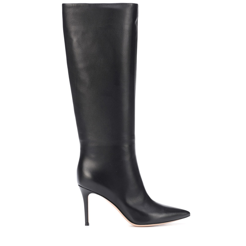Pointed rose high boots black high tube women's winter white knee leather boots cute red high heels