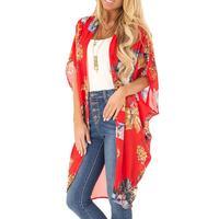 Women's Middle Sleeve Cloak Chiffon Print Sandy Beach Cardigan Smock Easy Tops Cape Coat Floral Summer Fashion Beach Holiday