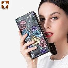 Genuine Leather Women Wallet 3D Rose luxury designer
