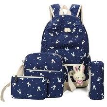 4 Pcs/Set Backpacks Korean Women Backpack Canvas Printing Preppy Style School Bag for Teenage Girls School Backpack mochila недорого