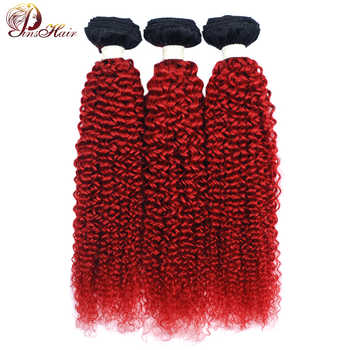 Pinshair オンブル赤ブラジルの髪織りバンドルアフロ変態カーリーヘア 3 ブルゴーニュ 99J 人毛バンドル Nonremy 毛延長 - DISCOUNT ITEM  54% OFF ヘアエクステンション & ウィッグ