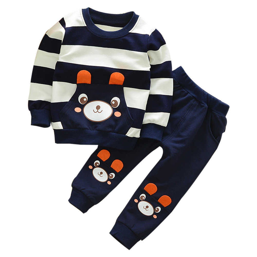 Autumn Winter Kids Baby Girl Boy Clothes Set Striped Bear Tops+Pants Outfits Cotton Cute Soft Comfortable Baby Kids Clothing Set 2pcs baby kids boys clothes set t shirt tops long sleeve outfits pants set cotton casual cute autumn clothing baby boy