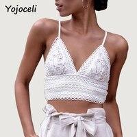 Yojoceli Chic Lace Crochet Cami Women Hollow Out V Neck Bow Women Crop Top 2018 Streetwear