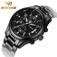 BINSSAW new men military watches original luxury fashion business stainless steel luminous sports quartz watch relogio masculino