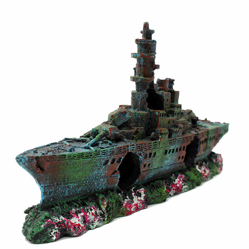 New Resin Aquarium Wreck Boat Decoration Navy War Liberty Destroyer Vessel Wreck Fish Tank Sunk Boat Crafts Ornament Aquarium Wreck Resin Aquariumfish Tank Ornaments Aliexpress