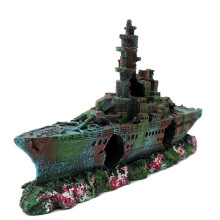 Resin Damaged Navy War Ship Wreck Aquarium Decoration Broken Liberty Destroyer Vesse Wreck Fish Tank Cave Sunk Boat Crafts