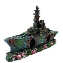 Nova resina aquário wreck boat decoração marinha guerra liberdade destruidor navio naufrágio tanque de peixes afundado barco artesanato ornamento