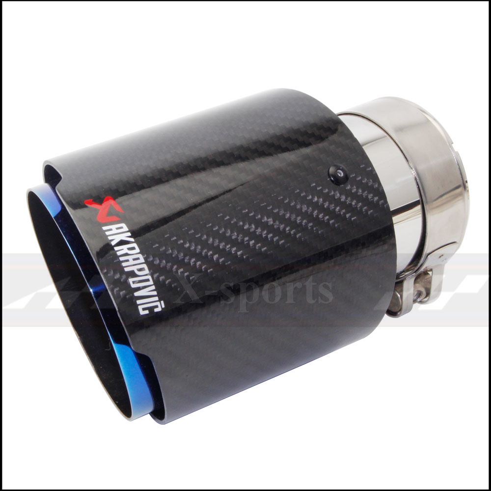 Car Styling Akrapovic Glossy Carbon Fiber Muffler Tip Exhaust font b Systems b font Tail Pipes