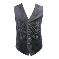 Devil Fashion Gothic Black Sleeveless Fancy Embroidered Waistcoats Steampunk Autumn V Collar Party Prom Handsome Vest Coats