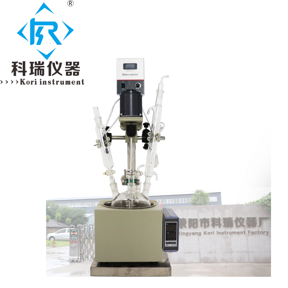 China factory price for Lab chemical glass reactor 5L with heating water oil bath with PTFE Stirring shaft mixing China factory price for Lab chemical glass reactor 5L with heating water oil bath with PTFE Stirring shaft mixing