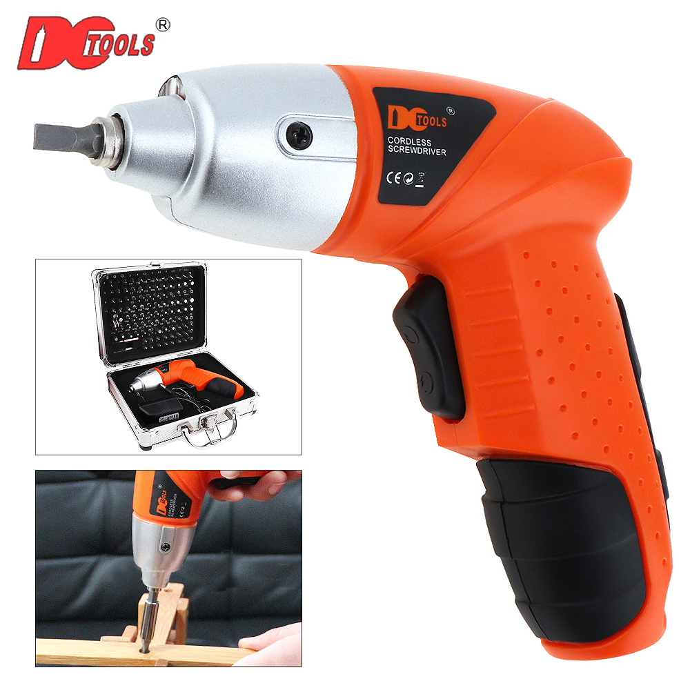 DCTOOLS 4.8V Cordless Electric Screwdriver 100 Driver Bits Set with 220V EU Adapter Tool Box Case for Tightening Loosening Screw