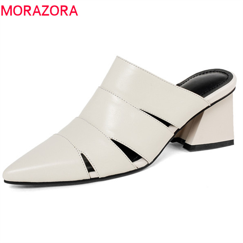 MORAZORA 2020 genuine leather new arrive women slippers solid summer shoes pointed toe women mules shoes